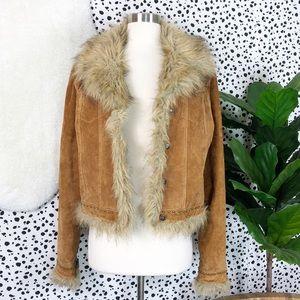 Vintage | Bebe Leather Suede Faux Fur Coat Jacket